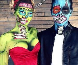 Halloween, couple, and make-up image