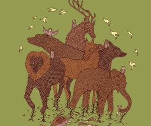 bears, horses, and illustration image