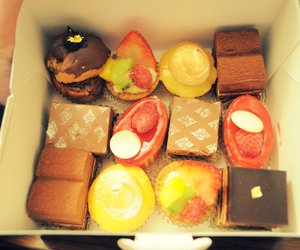 box, cakes, and strawberry image