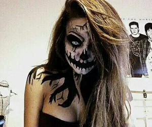 Halloween, makeup, and scary image