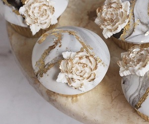 cupcakes, dessert, and gold image