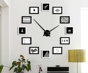 black&white, clock, and frame image