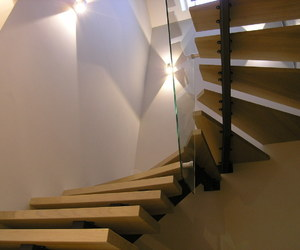 stairs, wood, and wood stairs image