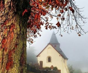 autumn, church, and colors image
