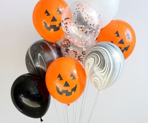 Halloween, balloons, and black image