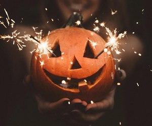 girl, light, and pumpkin image