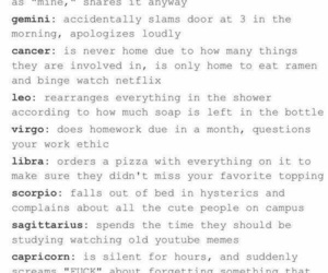 college, zodiac, and roommates image