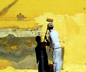 Painter, yellow, and wall image