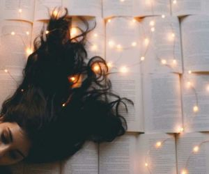 light, book, and girl image