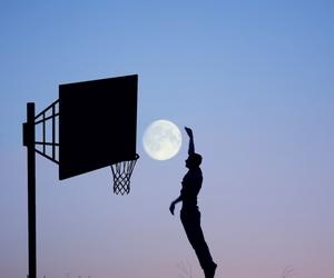 moon, Basketball, and basket image