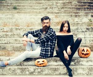 couple, fashion, and pumpkin image