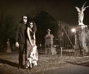 couple, Halloween, and graveyard image
