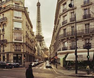 paris, street, and eiffel tower image