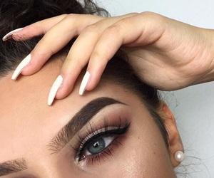 make up, blue, and eyes image