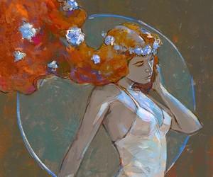 redhead white dress art, aditya777 art, and border of dreams image
