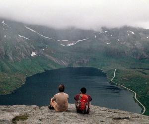 boys, lake, and landscape image