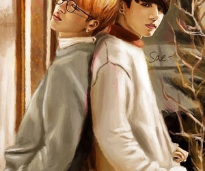 bts, fanart, and jikook image