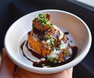 fig, appetizer, and polenta image