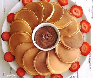 pancakes, breakfast, and chocolate image