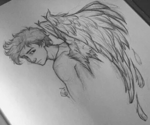 angel, drawing, and art image