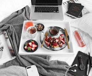 breakfast, bed, and coffee image
