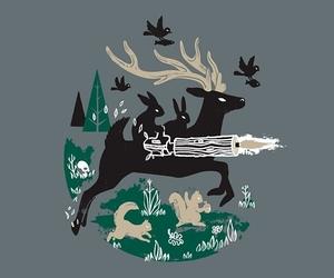 deer, illustration, and trees image