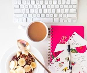 breakfast, desk, and food image