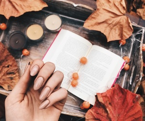 autumn, nails, and book image