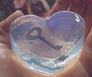 key, heart, and soap image