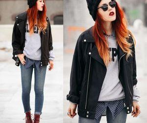 cool girl, lookbook, and black jacket image