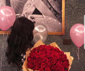 birthday, black hair, and flower image