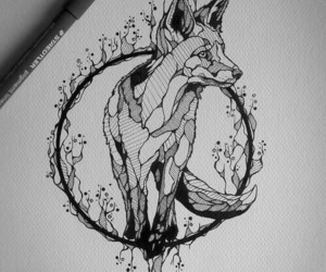 fox, art, and black image