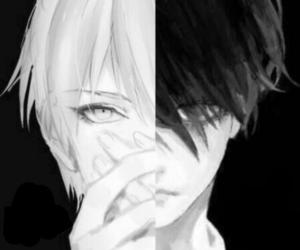anime, dark, and black and white image