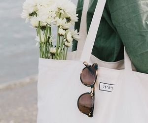 bag, flowers, and green image