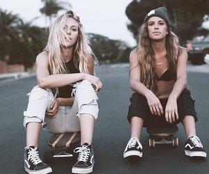 friendship, girl, and skateboarding image