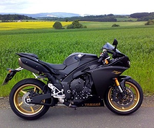 gold, motorbike, and YAMAHA image