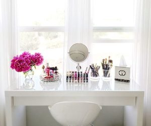 lipstick, makeup, and dressing table image