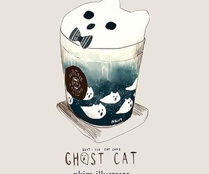 cat, coffee, and ghost image