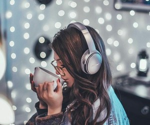 light, girl, and music image