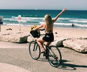 beach, bike, and blondie image