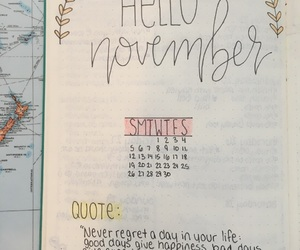 calendar, quote, and doodles image