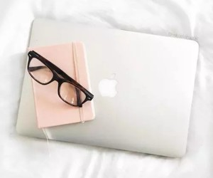 glasses, laptop, and macbook image