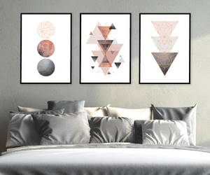 bedroom decor, geometric, and poster image