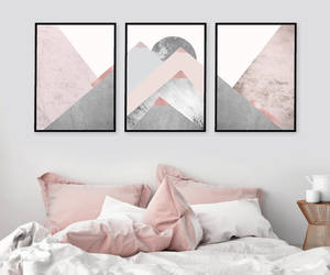 bedroom decor, wall art, and pink and grey image