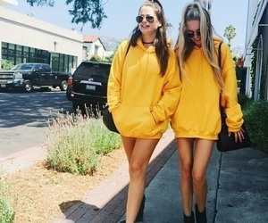 yellow, girls, and friends image