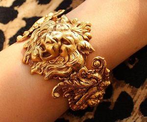 bracelet, gold, and lion image