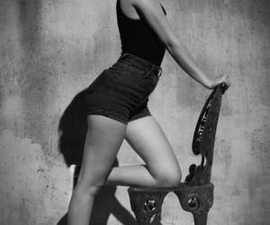 black and white photo, girl, and i image