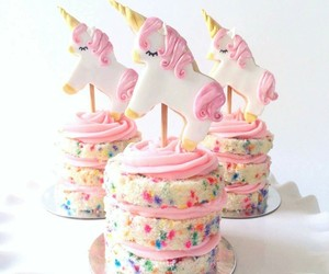 unicorn, cake, and pink image