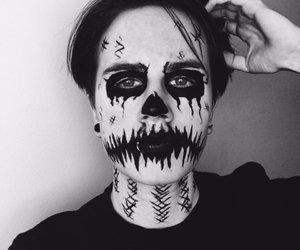 blackandwhite, boys, and Halloween image