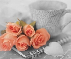 coffee, flowers, and hearts image